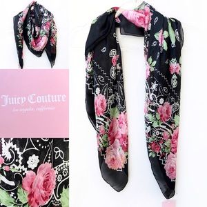 NWT Juicy Couture Scarf Black Floral